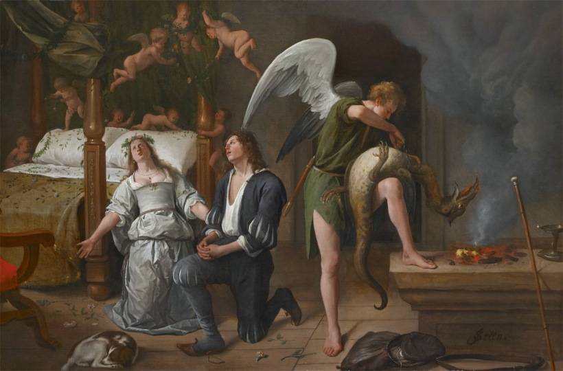 The wedding night of Sarah and Tobias, by Jan Steen