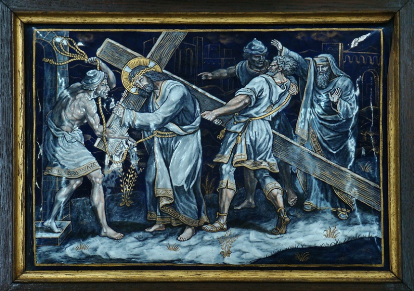 FIFTH_STATION_Jesus_is_helped_by_Simon_the_Cyrene_to_carry_his_Cross